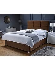Balencigo zamszowa Divan zestaw łóżka z 61 cm zagłówkiem i materacem z kolekcji pamięci (100 cm mały podwójny podwójny, brązowy)