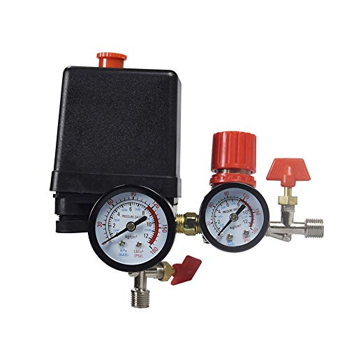 Pressure switch Air Compressor Control Valve 90-120PSI + Pressure Regulator, Air Compressor Four-hole Square Outlet Valve 2 points Safety Valve