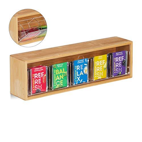 Relaxdays Teebox Bambus, 5 Fächer für 50 Teebeutel, mit Kippdeckel, zum Aufhängen, Aromaschutz, HBT 11,5x39x8 cm, natur