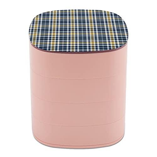 Rotar la caja de joyería, caja de almacenamiento de joyas de 4 capas, rotación de 360 grados, caja creativa para anillos, pendientes, collar, broche, baratijas, azul marino y oro amarillo