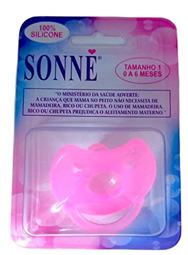 Chupeta Premium, RN, bico redondo 100% Silicone marca SONNE Rosa