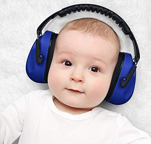 Image of HEARTEK Kids Ear Protection Noise Reduction Children Protective Earmuffs Sound Cancelling Hearing Muffs for Toddler, Baby, Infants Adjustable, Foldable with Travel Bag- Dark Blue