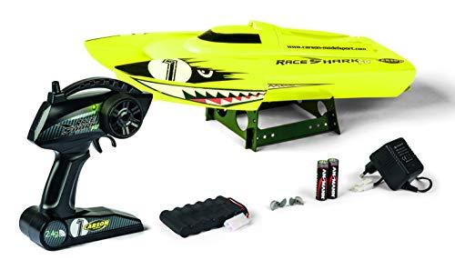 Carson 500108029 500108029-Race Shark FD 2.4G 100% RTR, afstandsbediening, RC boot, LED-verlichting, veiligheidsschakeling, geel