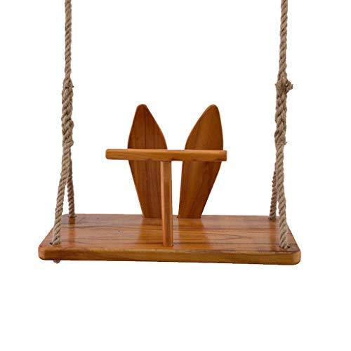 Effen houten boom schommelstoel binnen- en buitenshuis henneptouw in hoogte verstelbare hangstoel houten plaat schommel voor kinderen volwassenen kinderen