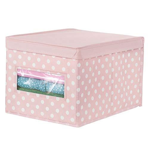 mDesign Caja organizadora grande de tela – Caja de almacenaje apilable con tapa y ventanilla – Para ordenar armarios o guardar ropa y zapatos – Organizador de armarios de lunares – rosa/blanco
