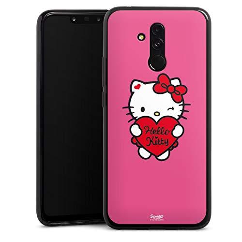DeinDesign Slim Hülle extra dünn kompatibel mit Huawei Mate 20 Lite Silikon Handyhülle schwarz Hülle Hello Kitty Fanartikel Herz