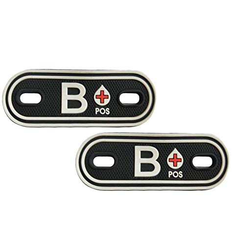 QTao UPA173aa 2pcs PVC Blood Type Group Identification Tags Positive Durable Rubber Tactical Morale Patches Badges Applique Boots Pack Shoelaces Clothes Patches (Black - Type B Positive)