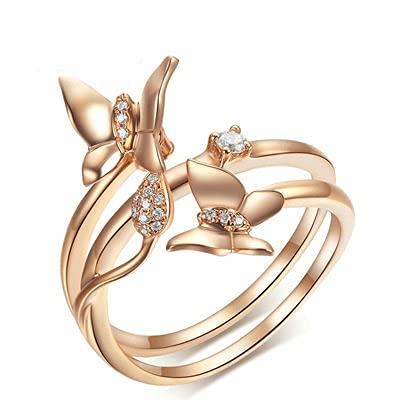 Bishilin Anillo de Mujer 750 Anillo de Compromiso, Filigree Anillo con Mariposa Diamante 0.076ct Anillo de Compromiso de Boda Ajuste Cómodo Aniversario Cumpleaños Oro
