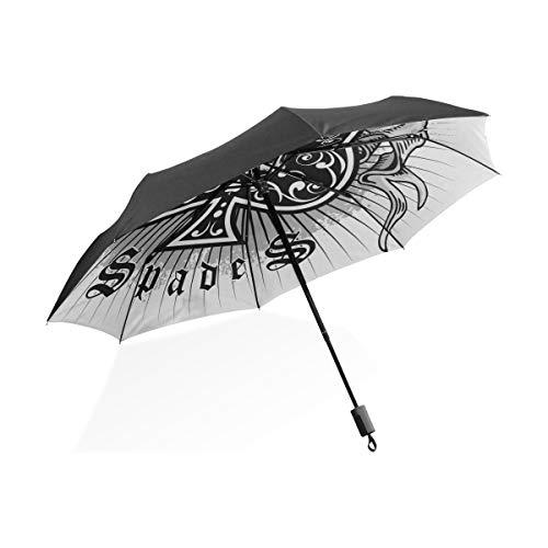 Totes Regenschirm Für Frauen Das Skelett Von Spade Trump In Poker Tragbare Kompakte Taschenschirm Anti Uv Schutz Winddicht Outdoor Reise Frauen Kind Regenschirm Mädchen