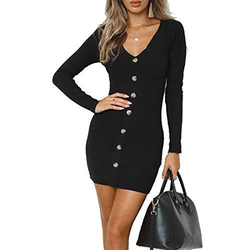 Bademode Langarm V-Ausschnitt Button-Down, figurbetontes Minikleid Strickkleider Damen Bikinis (Farbe : Schwarz, Size : XL)