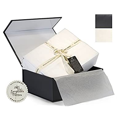 100% Egyptian Cotton Sheets, Genuine 1000 Thread Count 4 Piece Gift Box Set, Hotel Luxury Sateen Weave Extra Deep Pockets