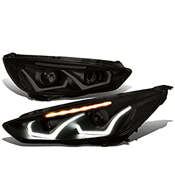 Pair Tinted Housing Clear LED Turn Signal Dual Halo DRL Projector Headlight Lamps Replacement for Ford Focus 15-18