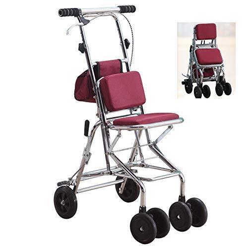 HZYWL Andador Plegable con Marco De Acero Duradero Compatible con Andador Rodante Scooter Anciano, Andador De Cuatro Ruedas con Asiento
