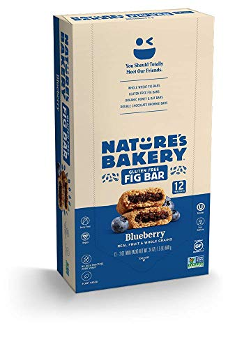 Nature's Bakery Gluten Free Fig Bars, Blueberry, Real Fruit, Vegan, Non-GMO, Snack bar, 1 box with 12 twin packs (12 twin packs)
