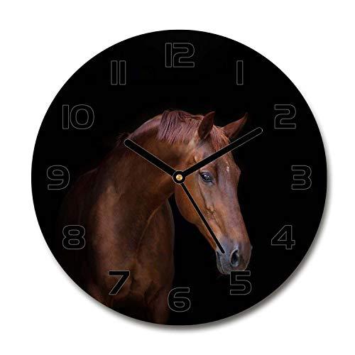 Tulup Redondo Reloj De Pared De Vidrio 60cm Silenciosa Grande Original Moderno Decorativo Manecillas Negras - Caballo Marrón