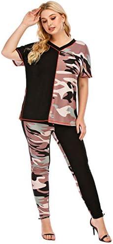 PYL Women Plus Size Camo Jogging Tracksuit Set V Neck Tee Top Short Sleeve Side Split Long Pant product image