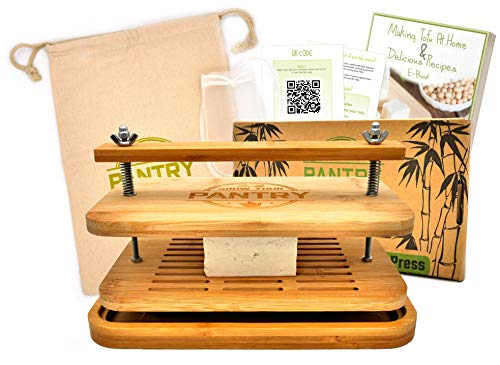 Tofu Press By Grow Your Pantry – New Bamboo Wooden Design with a Stainless Steel Screw System – Bonus Tote Bag for Storage and Ebook Guide.