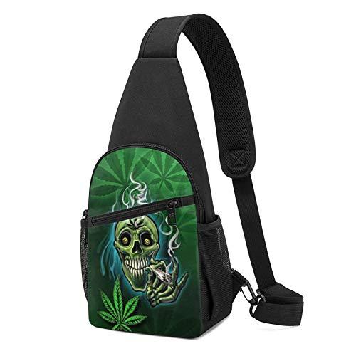 Mochila de hombro antirrobo para mujer Happy Skull Head fumar marihuana hoja maleza pecho bolsas bandolera ajustable ligero mochila bicicleta y deporte