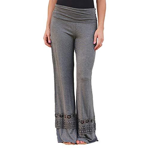 Pantalones Anchos para Mujer Otoño Invierno 2018 Moda PAOLIAN Casual Pantalones Marlene de Vestir Cintura Alta Fiesta Palazzo Pantalones Acampanados Baggy con Encaje Señora