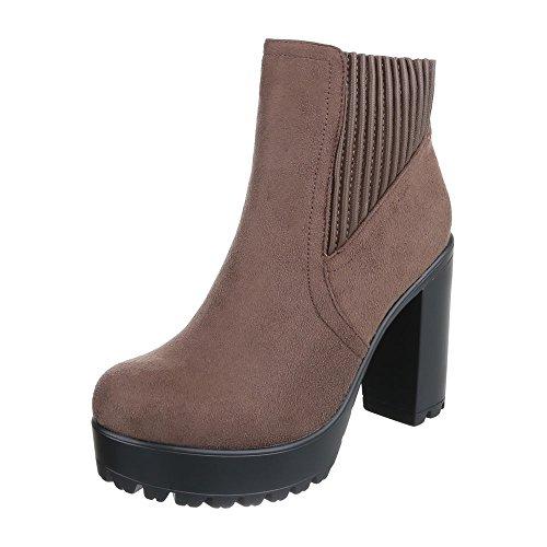 Ital-Design High Heel Stiefeletten Damen-Schuhe Schlupfstiefel Pump High Heels Reißverschluss Stiefeletten Hellbraun, Gr 39, Bg-77-