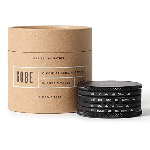 Gobe - Kit filtri per obiettivi 58 mm UV, polarizzatore circolare (CPL), ND8, ND1000 (2Peak)
