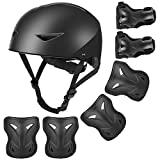 4 10 gears - WayEee Kids Bike Helmet and Pads for Ages 4-10yrs - Adjustable Upgraded Skateboard Helmet for Boys, Knee Pads Elbow Pads Wrist Guards Protective Gear Set for Skating Cycling Scooter BMX