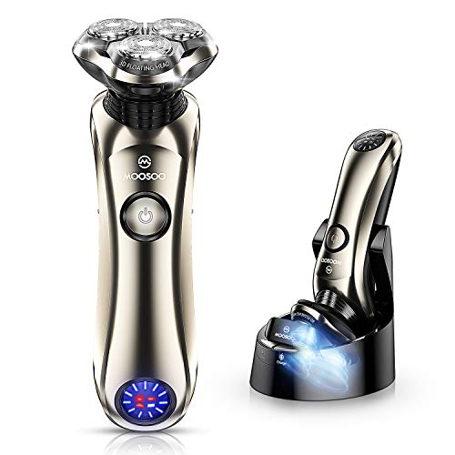 Shaver,MOOSOO Electric Razor for Men, Wet & Dry Electric Shaver with Precision Trimmer, IPX7 Waterproof,5 Mins Fast Charging Technology,Clean Sterilization Charge Station,LCD Display Battery Power 8G