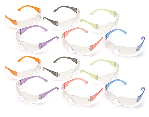 Pyramex S4110SMP Intruder Safety Glasses, Clear Lens with Assorted Temple Colors,Multi Color, Pack of 12
