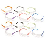 Pyramex S4110SMP Intruder Safety Glasses (12 Pack), Clear Lens with Assorted Temple Colors,Multi Color Variations