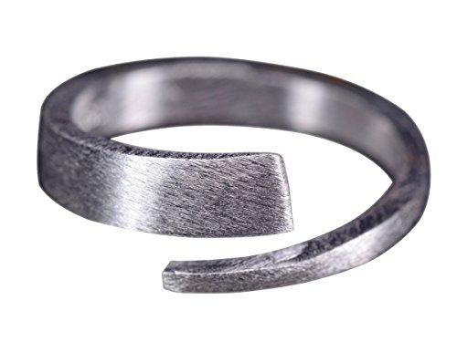 NicoWerk Silberring Schlicht Gebürstet Matt Spirale Ring Silber 925 Verstellbar Damenringe Damen Schmuck Sterling SRI249