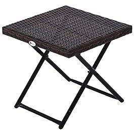 Outsunny Table Basse Pliable de Jardin Style Cosy Chic dim. 40L x 40l x 40H cm métal époxy résine tressée Imitation…