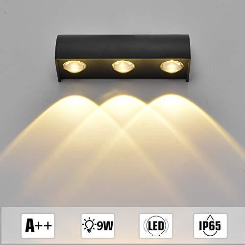 Asvert Aplique de Pared para Exterior Redonda Aluminio IP65 a Prueba de Agua Lámpara de iluminación para Exterior (Blanco Cálido, 3w*3)