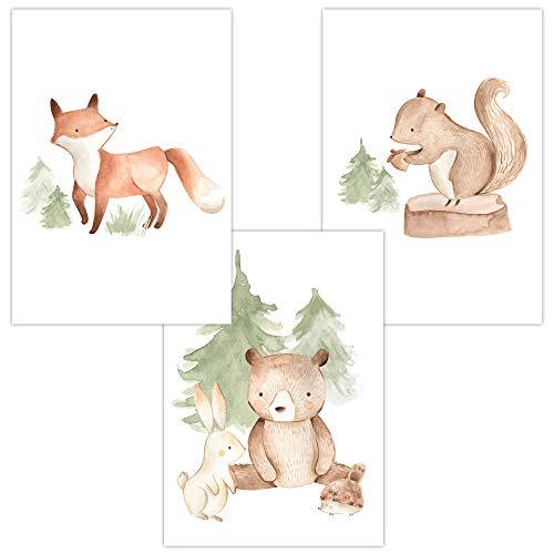 Wandbilder 3er Set für Baby & Kinderzimmer Deko Poster Bilder Fuchs Hase Bär Igel Eichhörnchen | Kunstdruck DIN A4 (Wald