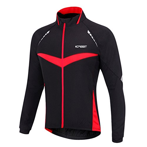 iCREAT Herren Jacket Air Jacket Winddichte wasserdichte MTB Mountainbike Jacket Visible reflektierend, Fleece Warm Jacket für Herbst, Rot Gr.XL