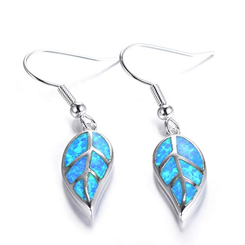 LYQZ Pendientes de la Hoja de Arce de Plata S925 + White Opal for Girl (Color : A)