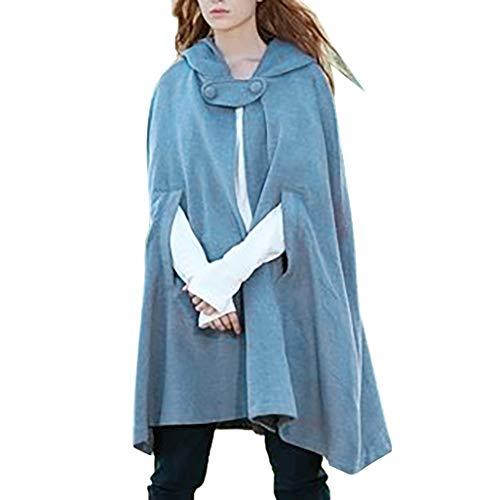NPRADLA 2019 Mittelalter Umhang Damen Kapuze Einfarbig Elegant Frauen Trenchcoat Open Front Cardigan Jacke Mantel Cape Poncho Oversized