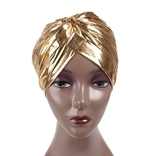 ReedG Sombrero de Turbante Baotou Polyester Cap Casual Sombrero Gorro de Dormir Unisex de Oro y Plata Turbante Sombrero Hermoso Sombrero de Turbante (Color : Metallic)