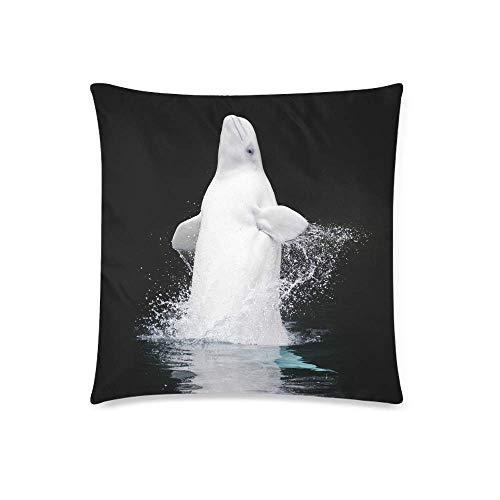Butlerame Durchbrechen des gefangenen Beluga-Wals im Vancouver Aquarium Decor Dekorative Kissen-Kissenbezugabdeckung 20x20 Zoll, quadratischer Kissenbezug-Schutz