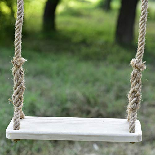 Hignful Wooden Garden Swing Seat for Playground Indoor Outdoor, Swing Chair Secure Swing Seat Detachable Swing Seat, 23,6' X 6,2' with Durable Adjustable Ropes And Swing Extended Belt,60 * 16cm