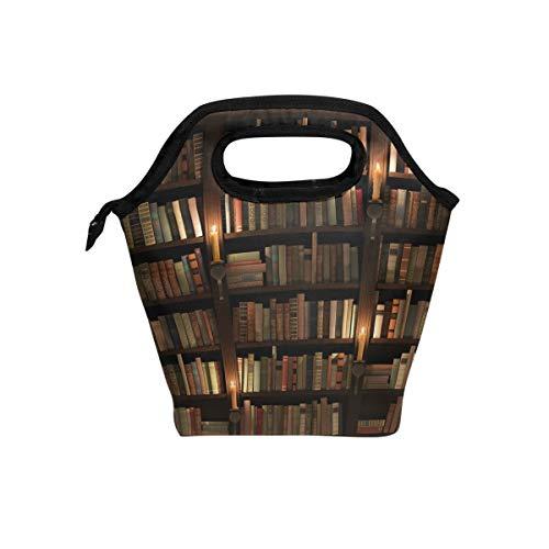 ALARGE Bolsa para el almuerzo, biblioteca misteriosa, aislada, reutilizable, portátil, bolsa de comida, bolsa de hielo para niños, niñas, adultos, hombres y mujeres