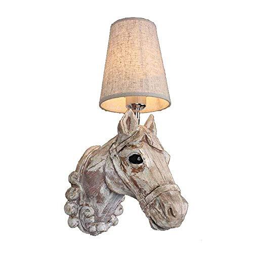 Iluminación de pared ligera para sala de estar. En la Noche enchufe lámpara de pared ligera, la cabeza de caballo de resina luces Retro Wall, Bar Restaurante Hotel de decoración de interior de la cabe