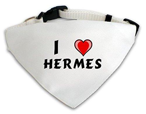 Personalisierter Weißer Hundschal mit Aufschrift Ich liebe Hermes (Vorname/Zuname/Spitzname)