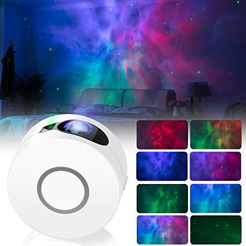 LED Nachtlichtprojektor, 2 in 1 Sternenhimmel Nachtlicht mit Fernbedienung / 13 Beleuchtungsmodi, bewegliche LED Projektionslampe, Festival Party Zuhause Dekoration AtmosphäreLicht Hellgrau. (Weiß)
