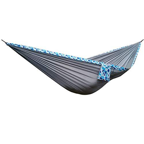 JJYGONG Haa Doble Portátil Cuelga Silla Mecedora con Ganchos de Metal Nylon Ligero Camping Esparcidor de Camping Equipo para Caminatas Al Aire Libre para Exteriores, Azul Comodidad