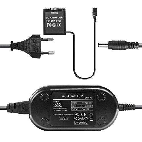 kj-vertrieb Netzteil mit Akkuadapter für Panasonic Lumix DMC-G1, DMC-G2, DMC-G10, DMC-GF1 - ersetzt DMW-DCC3, DMW-DCC3E, DMW-AC8, DMW-AC8EG, DMW-BLB13E - 8,4V 2A
