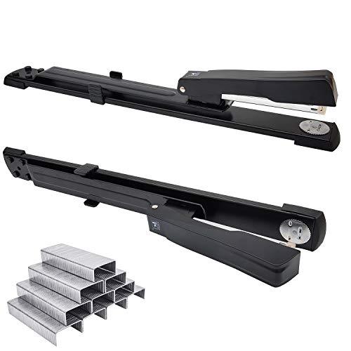 JJYHEHOT,Grapadora de largo alcance, capacidad para 25 hojas, grapadoras estándar de brazo largo para encuadernación de folletos o libros, negro