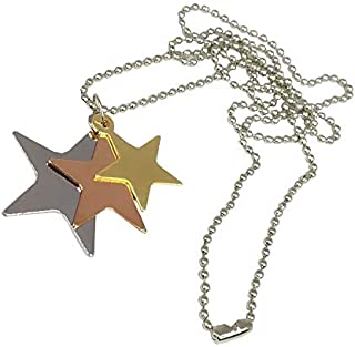 Utkarsh Unisex Solid Metal Stainless Steel Fancy & Stylish 3 Different Size Plain Star Sitara Locket Pendant Necklace With...