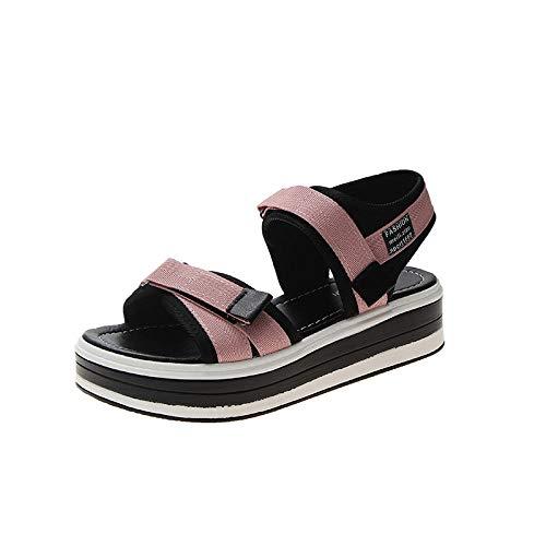 Desconocido Sandalias de Plataforma cómodas para Mujer Zapatos de Playa de Verano, Zapatos de Viaje de Verano con Punta Abierta, Sandalias Casuales-Pink_37