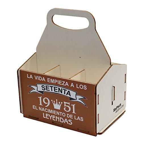 Portacervezas de madera, paquete de seis cervezas, caja portadora de seis, portacervezas de seis, regalo cerveza, cumpleaños 70 años, regalo 70 años, de madera, 70 cumpleaños, cumpleaños hombr