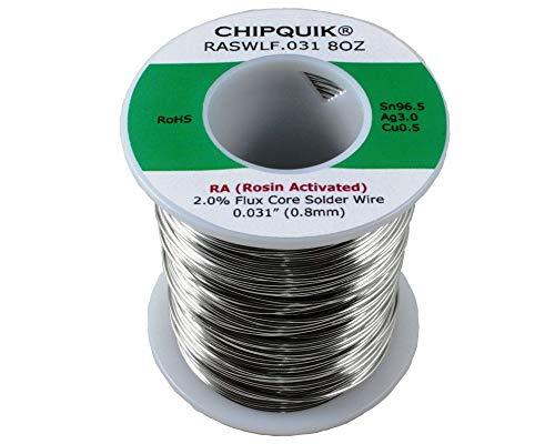 Chip Quik RASWLF.031 8OZ LF Solder Wire 96.5/3/0.5 Tin/Silver/Copper Rosin Activated .031 1/2lb